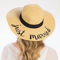 'Just Married' Embroidery Straw Floppy Sun Hat