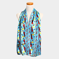 Satin Striped Anchor Lighthouse Pattern Print Scarf