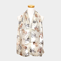 Satin Striped Running Horse Pattern Print Scarf