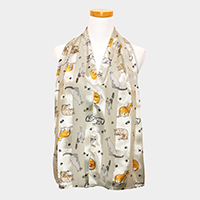 Satin Striped Cats Pattern Print Scarf