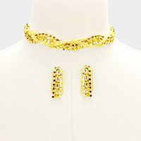 Twisted Crystal Rhinestone Metal Chain Choker Necklace