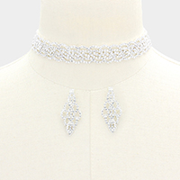Crystal Rhinestone Pave Leaf Choker Necklace