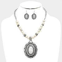 Beaded Antique Oval Howlite Accented Bib Necklace
