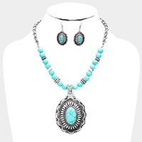Beaded Antique Oval Turquoise Accented Bib Necklace