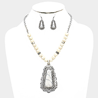 Beaded Antique Howlite Trapezoid Accented Bib Necklace