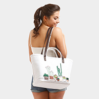 Cactus Basket Double Handles Tote Bag