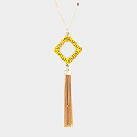 Thread Wrapped Square Hoop Drop Chain Tassel Necklace