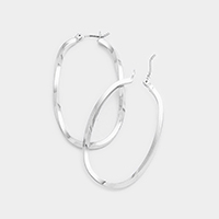 Twisted Metal Oval Hoop Pin Catch Earrings