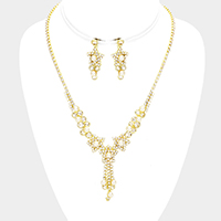 Pearl Centered Star Crystal Rhinestone Pave Fringe Necklace