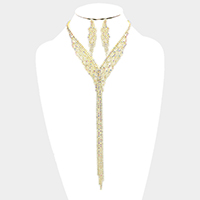 Draped Long Drop Crystal Rhinestone Pave Bib Necklace
