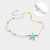 Starfish Detail Colorful Beaded Anklet