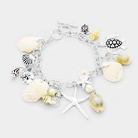 Metal Starfish Genuine Shell Turtle Charms Toggle Bracelet