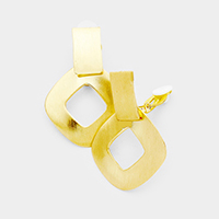 Cut Out Square Metal Clip on Earrings