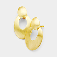 Cut Out Oval Disc Clip on Earrings