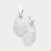 Filigree Metal Teardrop Clip on Earrings