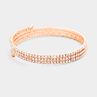 3Rows Crystal Rhinestone Pave Coil Bracelet