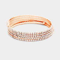 5Rows Crystal Rhinestone Pave Coil Bracelet