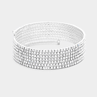 7Rows Crystal Rhinestone Pave Coil Bracelet