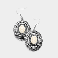 Antique Oval Howlite Dangle Earrings