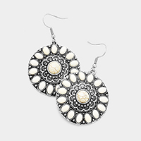 Antique Howlite Accented Round Dangle Earrings