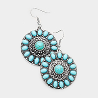 Antique Turquoise Accented Round Dangle Earrings