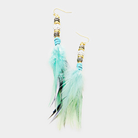 Shamballa Ball Feather Earrings
