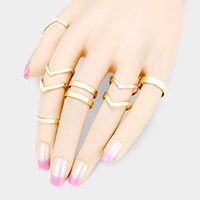 6PCS - Mixed Chevron Metal Cut Out Cage Rings