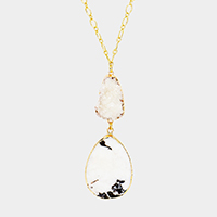 Genuine Druzy Teardrop Semi Precious Pendant Long Necklace
