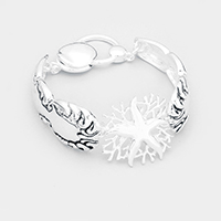 Starfish Coral Centered Antique Metal Magnetic Bracelet