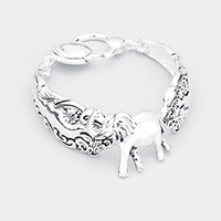 Elephant Centered Antique Metal Magnetic Bracelet