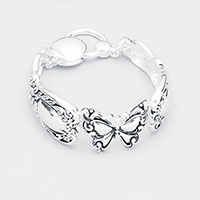 Butterfly Centered Antique Metal Magnetic Bracelet