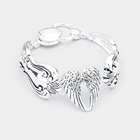 Wings Centered Antique Metal Magnetic Bracelet