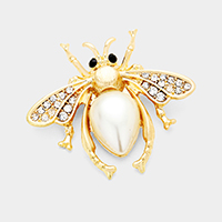 Stone Honey Bee Teardrop Pearl Detail Pin Brooch