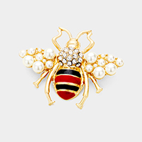 Stone Honey Bee Pearl Cluster Pin Brooch