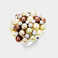 Stone Pearl Cluster Bouquet Ring