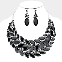 Curved Crystal Oval Cluster Evening Necklace