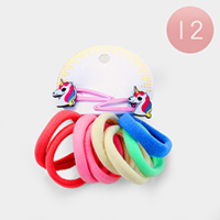 12 Set of 8 - Ponytail Hair Bands and Unicorn Hair Clips