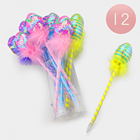 12PCS - Sequin Faux Feather Easter Egg Ball Pens