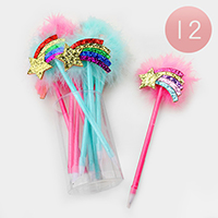 12PCS - Sequin Faux Feather Rainbow Ball Pens