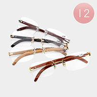 12PCS - Rimless Rectangle Reading Glasses
