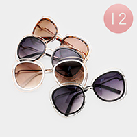12PCS - Oversized Double Layered Metallic Frame Sunglasses