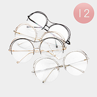 12PCS - Oversized Clear Round Lens Sunglasses