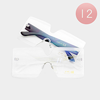 12PCS - Oversized Frameless Square Clear Lens Sunglasses
