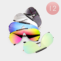 12PCS - Oversized Mirror Lens Aviator Sunglasses