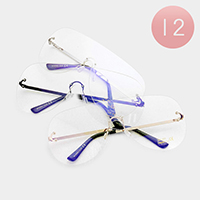12PCS - Oversized Frameless Clear Lens Aviator Sunglasses