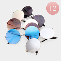 12PCS - Oversized Mirror Lens Round Retro Sunglasses
