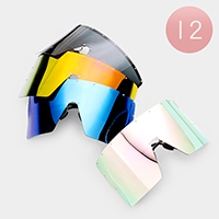 12PCS - Oversized Mirror Lens Visor Sunglasses