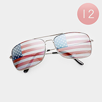 12PCS - American Flag Aviator Sunglasses