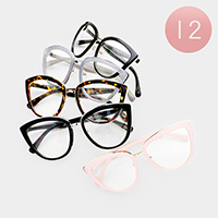 12PCS - Oversized Clear Lens Cat Eye Sunglasses
