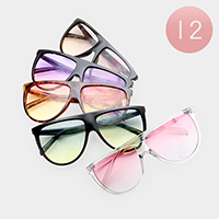12PCS - Oversized Oceanic Color Lens Retro Sunglasses